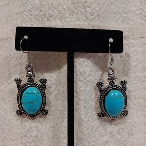 Antique Turtle Semi Precious Stone Earrings